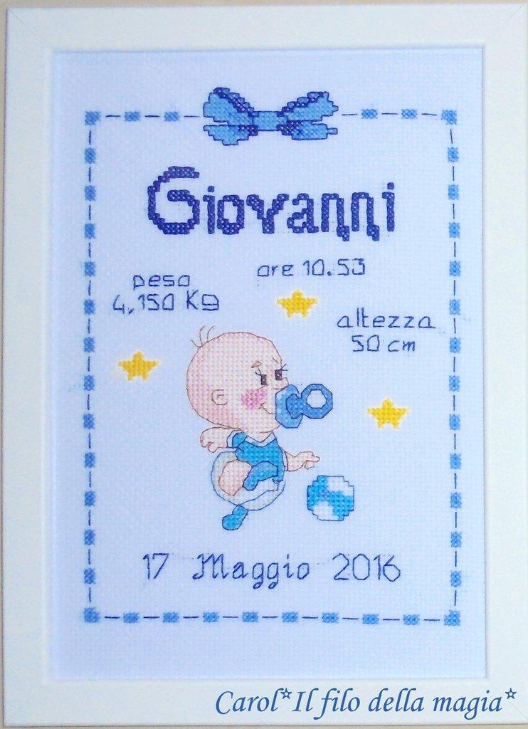 Quadretto nascita - fiocco nascita - BABY TIFOSO BIMBO NAPOLI -punto croce- B80