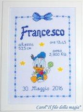 Quadretto nascita - fiocco nascita - BABY PAPERINO GIOCHINO -punto croce- B82