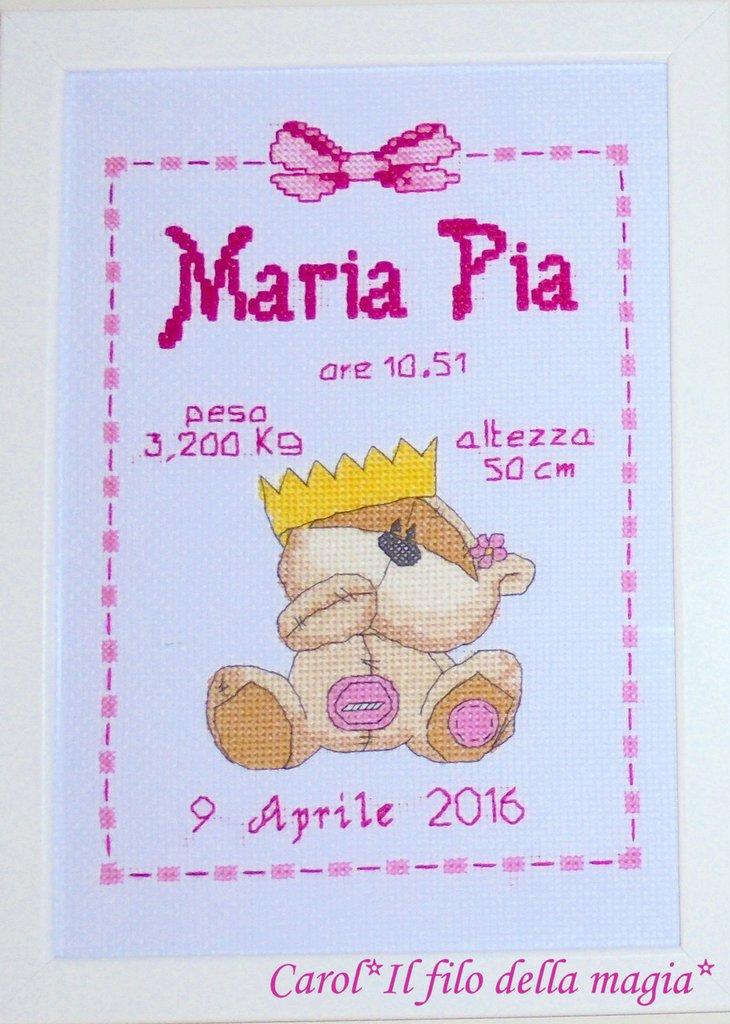 Quadretto nascita - fiocco nascita - FIZZY MOON CORONA BIMBA -punto croce- B71