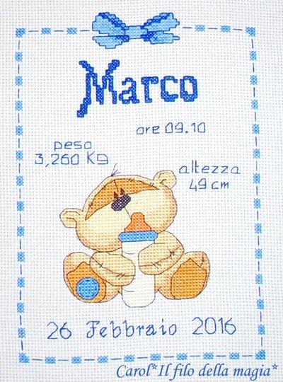 Quadretto nascita - fiocco nascita - FIZZY MOON BIBERON BIMBO -punto croce- B70