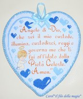 Cuscinetto Capoculla cuore piccolo PREGHIERA ANGELO DI DIO BIMBO - punto croce -