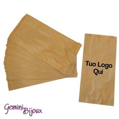 100 Sacchettini Avana in carta, 10x18, con stampa del tuo logo