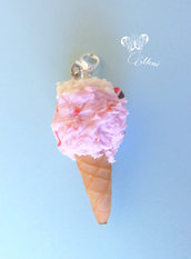 Charm cono gelato fragola e panna - handmade strawberry and cream ice-cream charm