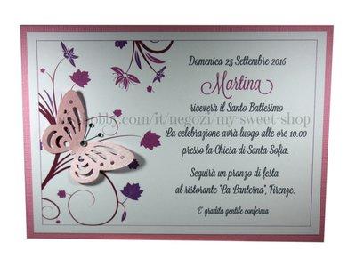 Invito Battesimo o per cerimonie e feste versione rosa