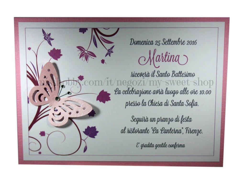 Popolare Invito Battesimo o per cerimonie e feste versione rosa - Feste  ET08