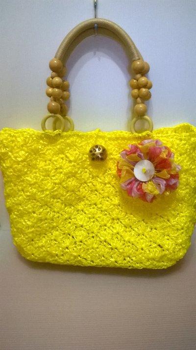 borsa estiva in rafia gialla