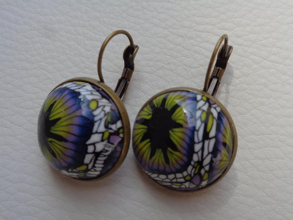 Orecchini pendenti alla francese in pasta polimerica lilla