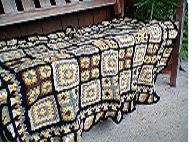 Tappeto crochet lana nuovo fatto a mano