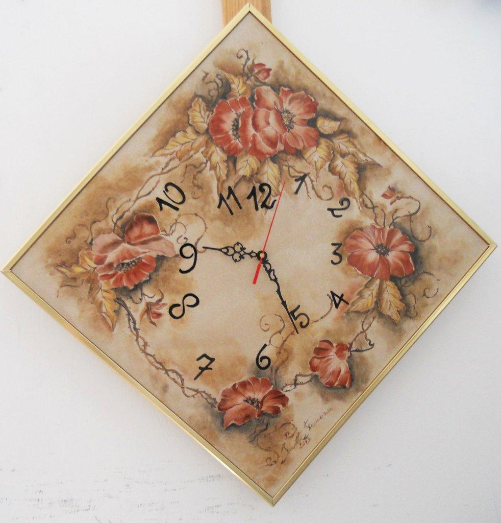 orologio papaveri ceramica