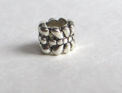 4 Perle a foro largo argento tibetano PFL166