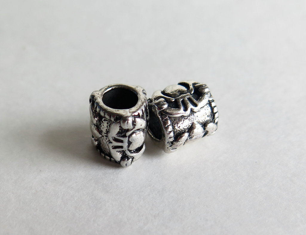 4 Perle a foro largo argento tibetano  PFL175