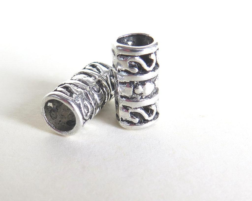 4 Perle a foro largo argento tibetano  PFL177