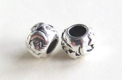 4 Perle a foro largo argento tibetano  PFL179