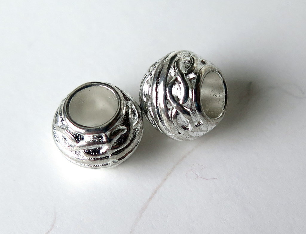 4 Perle a foro largo argento tibetano  PFL180