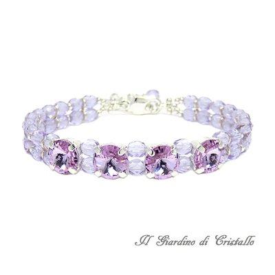 Bracciale chic con cristalli Swarovski Rivoli viola lilla e mezzi cristalli fatto a mano - Ibisco