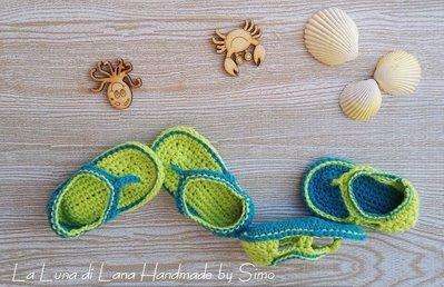 sandali infradito a uncinetto in cotone per bimbo neonato