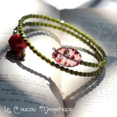 Bracciale verde con perle in cristallo di Boemia