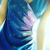 abito tubino blu dipinto a mano