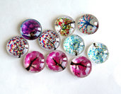 4 Cabochon TREE MIX PRL11