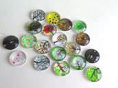4 Cabochon TREE MIX PRL12