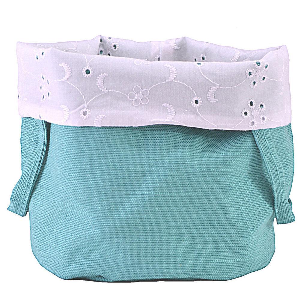 Sacchetto cotone portapane o portaoggetti in cotone e sangallo