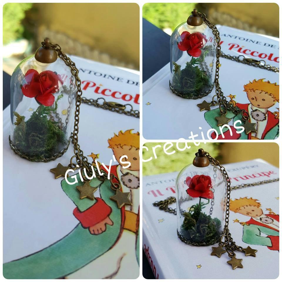 Collana con teca la Rosa IL PICCOLO PRINCIPE le petit prince libro book stelle