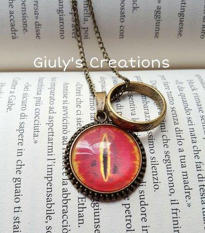 Collana ispirata IL SIGNORE DEGLI ANELLI occhio Sauron Unico Anello Lo Hobbit Frodo Beggins Bilbo