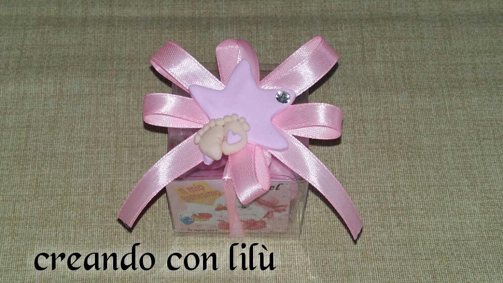 bomboniera completa nascita battesimo compleanno  in fimo stella con pieDini magnete o ciondolo