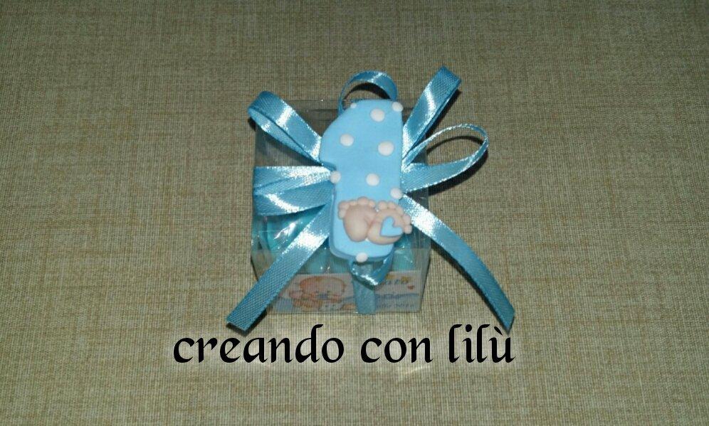 bomboniera completa primo compleanno numero 1 con piedini