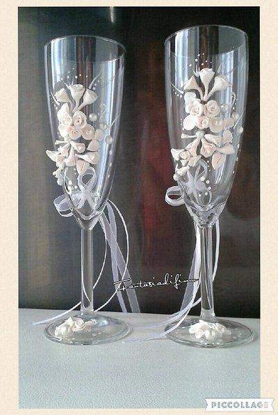 wedding flute, calici marimonio in fimo