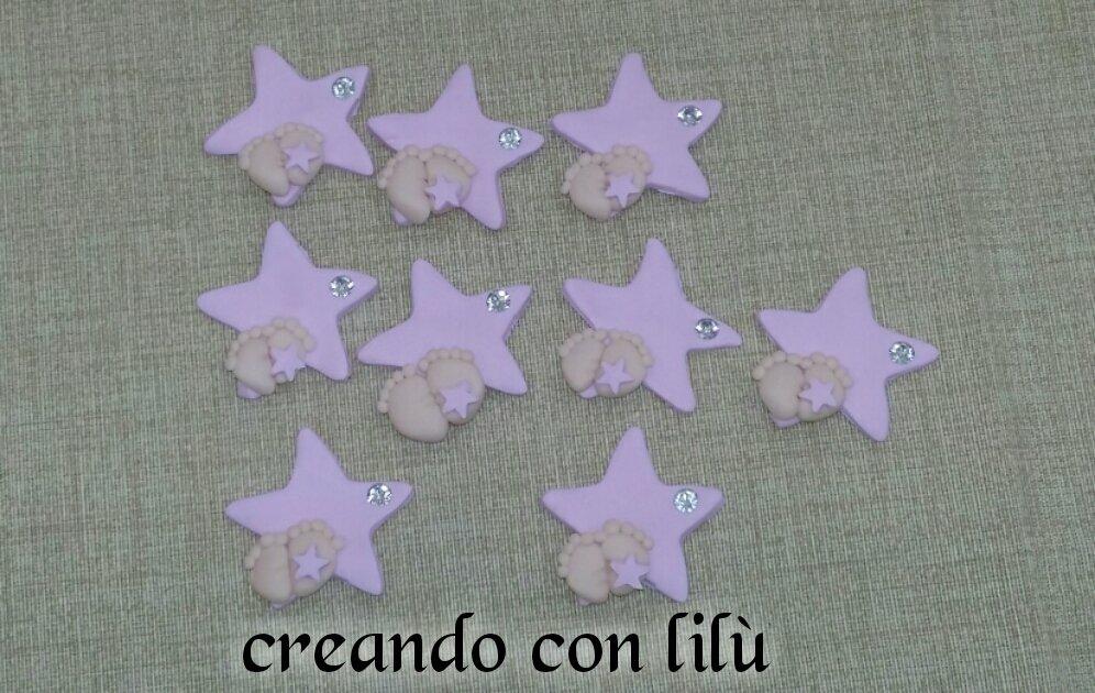 magnete o ciondolo in fimo stella con piedini