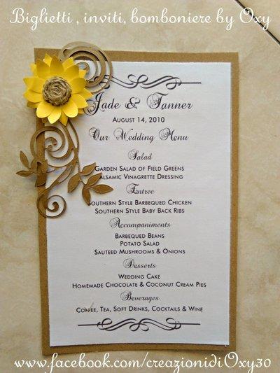 Partecipazioni Matrimonio Stile Rustico : Menù per matrimonio in stile rustico quot girasole coordinato