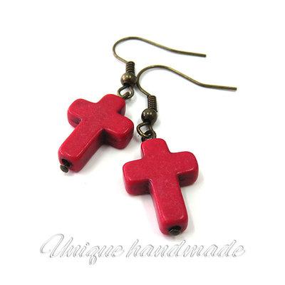 Orecchini  con croce rossa pendente