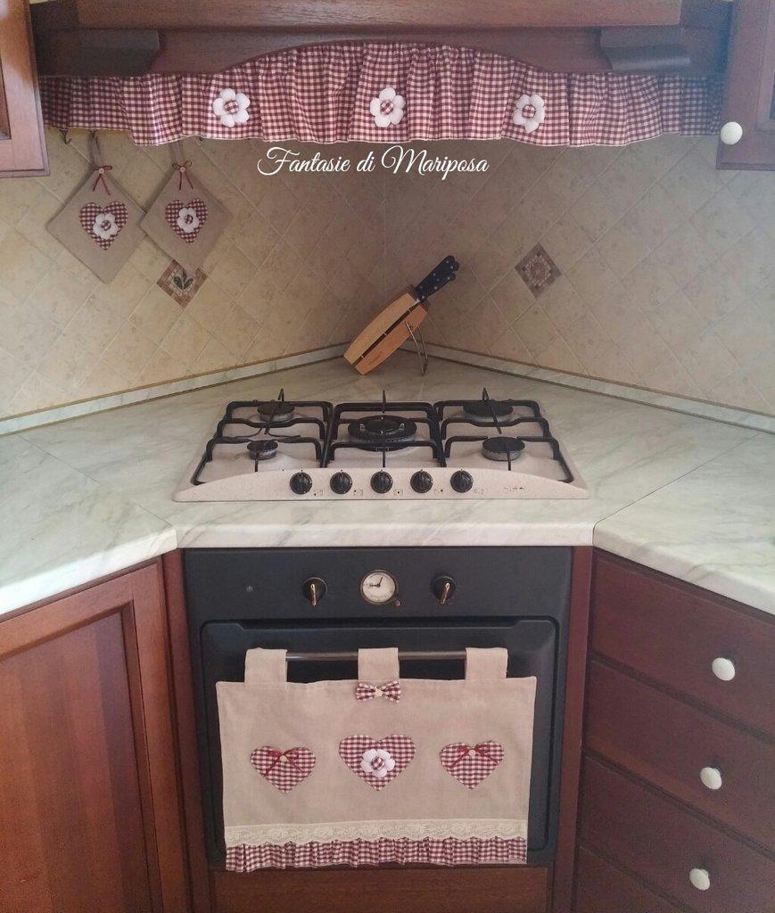 Set cucina copriforno riccio per cappa presine per la for Oggetti decorativi per cucina