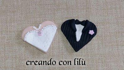 magnete o ciondolo in fimo cuore matrimonio cm4