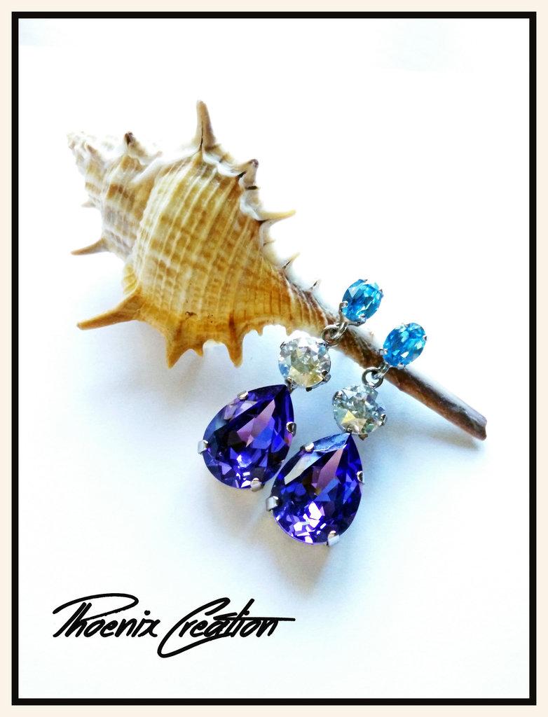 Orecchini crystal blue shade
