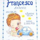 Quadretto nascita - fiocco nascita - BIMBO ANGIOLETTO MACCHININA -punto croce- B84