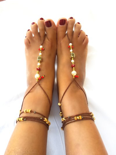 Barefoot sandals a uncinetto