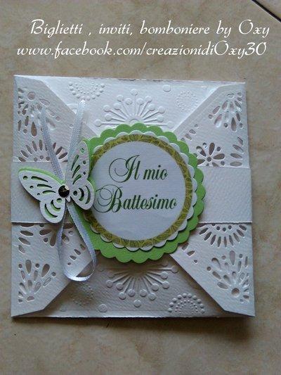 Invito-partecipazione adatto al Battesimo, Comunione o Cresima, color verde pastello.