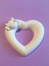 Cuore con colombine matrimonio  in polvere ceramica personalizzato (costo personalizzazione nella descrizione)
