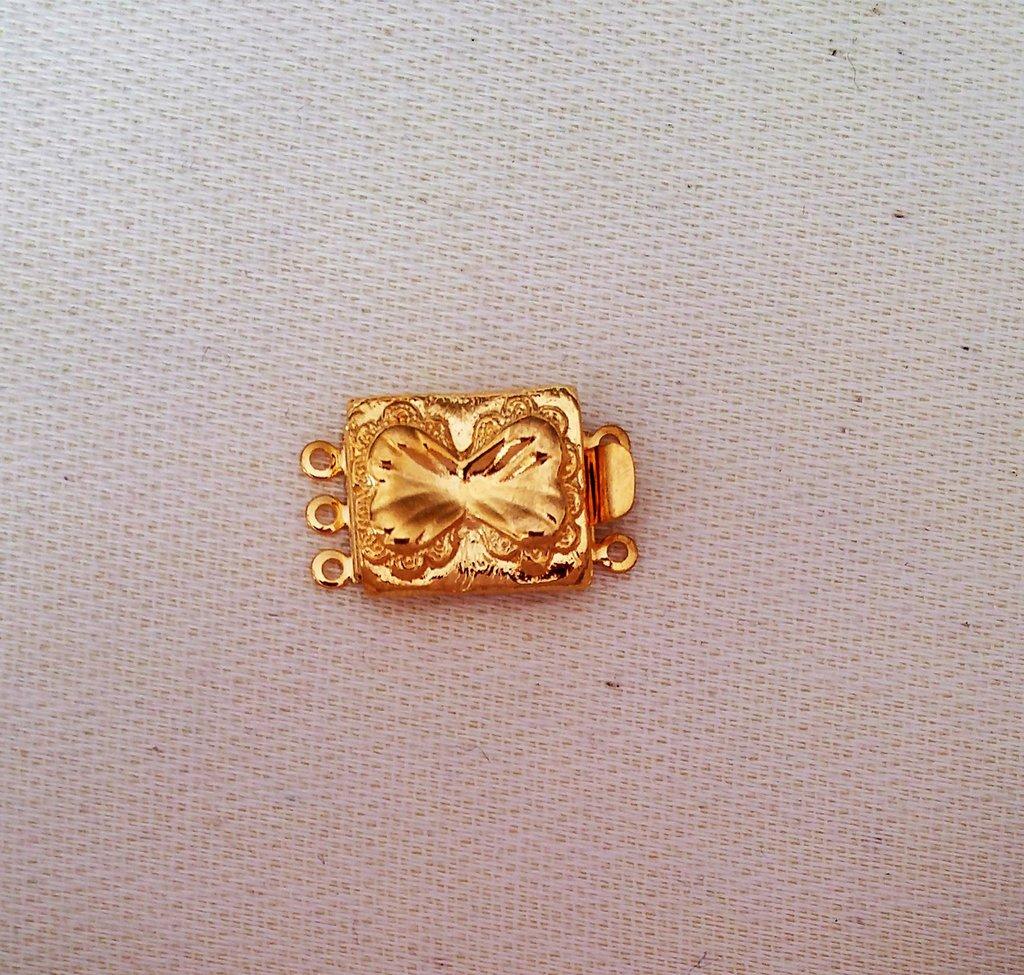 chiusura fermaglio per collana, bracciale,a 3 fili in metallo dorato