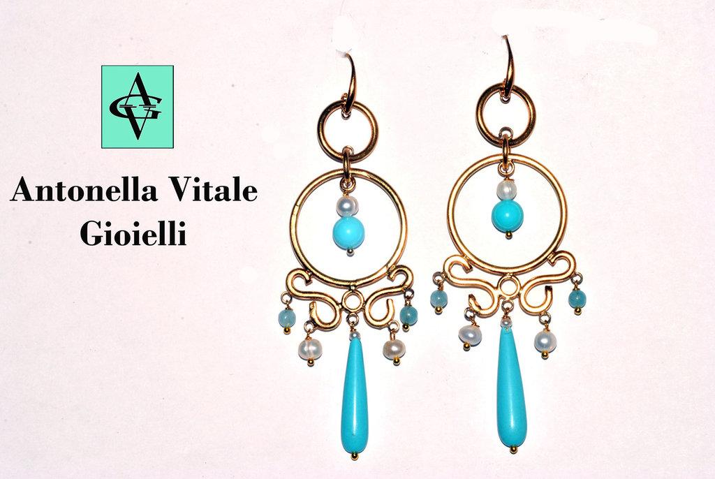 Orecchini chandelier in ottone e pasta turchese
