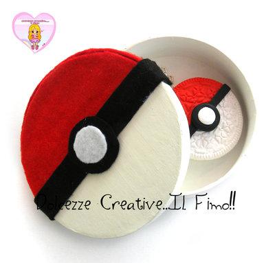 Scatola - Box - portagioie- confezione regalo rotonda - sfera Pokémon HANDMADE