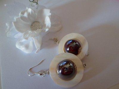 Orecchini madre perla con sfere ceramica