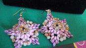 orecchini rosa e oro