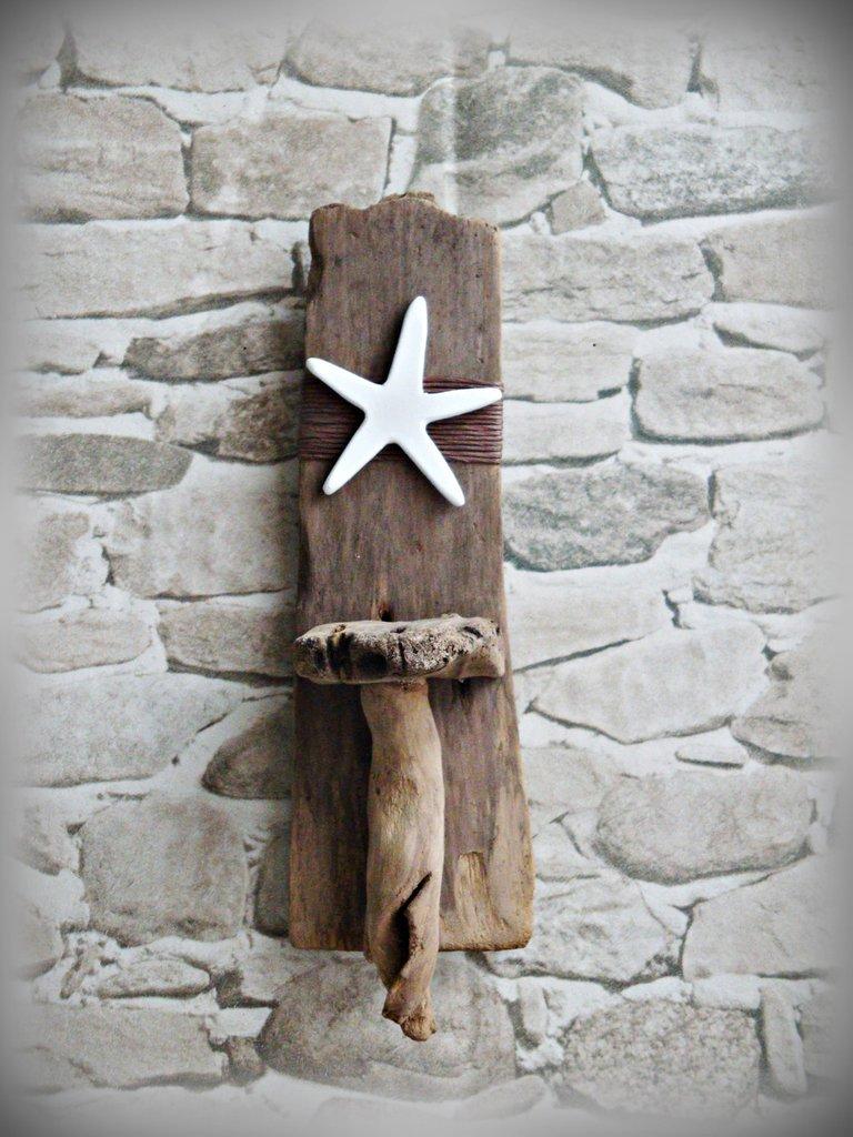 PORTA LUMINO da parete con legni di mare