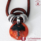Collana Maxi Albero della Vita Fuoco in vetro di Murano fatto a mano