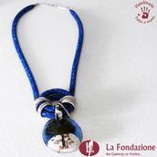 Collana Maxi Albero della Vita Blu in vetro di Murano fatto a mano