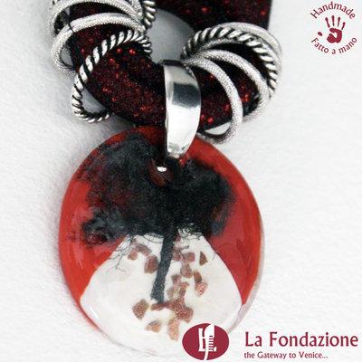 Collana Maxi Albero della Vita Ambra in vetro di Murano fatto a mano