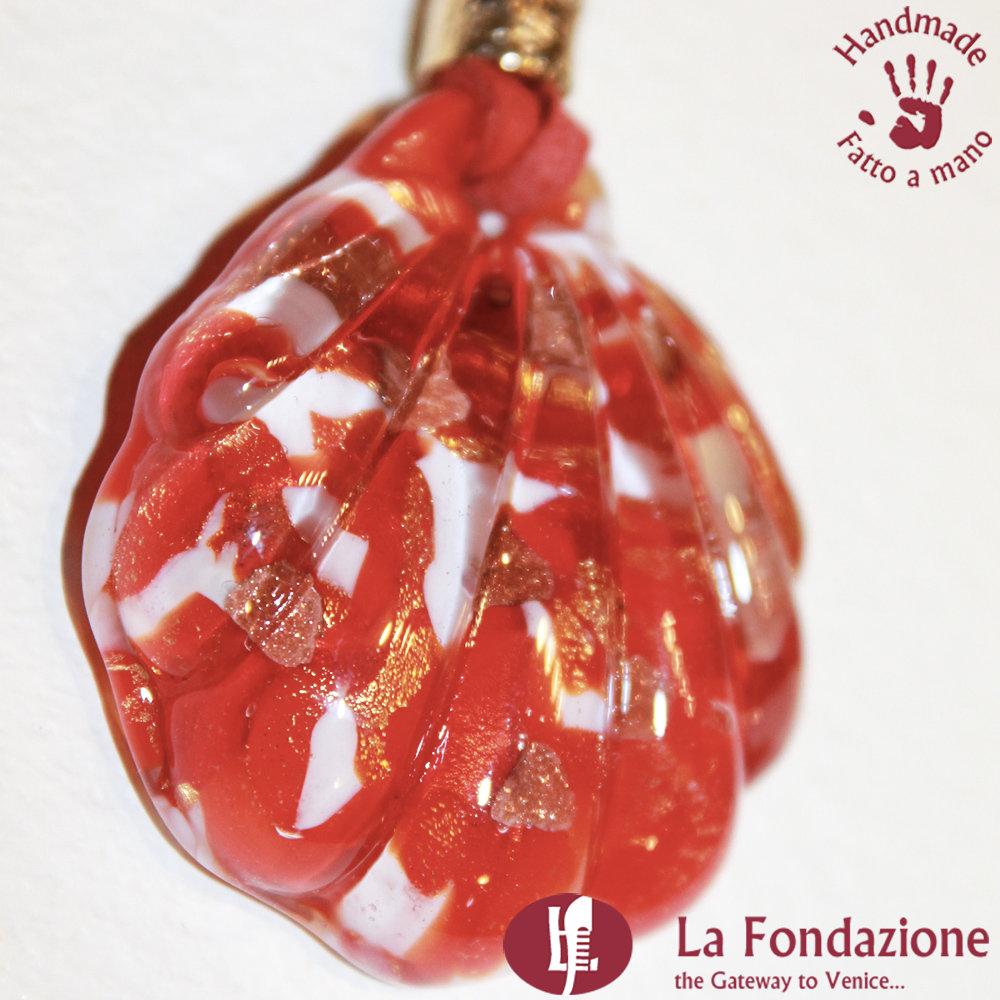 Conchiglia Rosso - Pendente in vetro di Murano fatto a mano